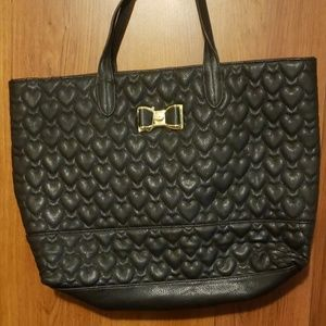 Betsey Johnson black quilted heart tote